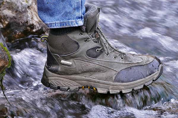 hiking boots exposed to water
